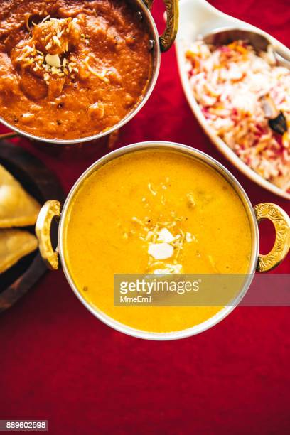 lamb korma curry inside karahi indian serving dishes. north indian food - north indian food stock photos and pictures