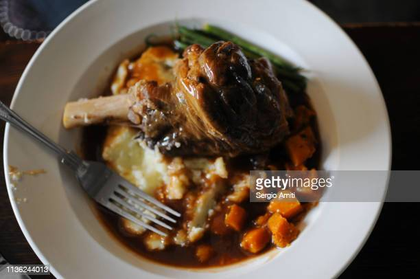 Lamb shank with mash potatoes and carrots
