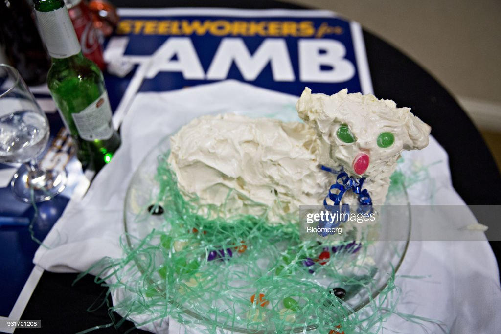 A lamb shaped cake sits on a table during an election night rally for Conor Lamb, Democratic candidate for the U.S. House of Representatives, not pictured, in Canonsburg, Pennsylvania, U.S., on Tuesday, March 13, 2018. Lamb and Republican Rick Saccone were locked in a tight contest for a House seat in Pennsylvania that may be a bellwether for the fall elections that will decide control of Congress. Photographer: Andrew Harrer/Bloomberg via Getty Images
