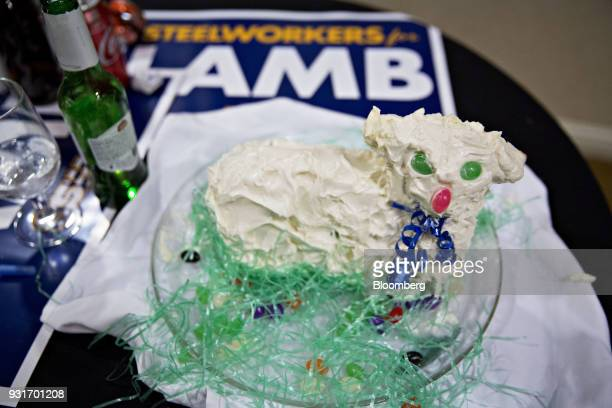 A lamb shaped cake sits on a table during an election night rally for Conor Lamb Democratic candidate for the US House of Representatives not...