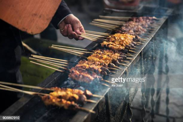 Lamb skewers in street,Kashgar,Xinjiang,China