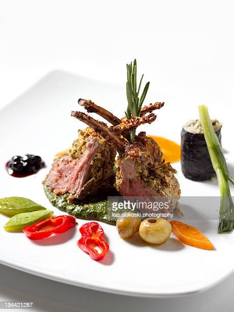 Lamb steaks with vegetables