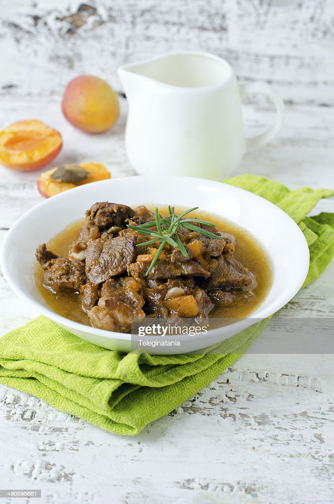 Lamb stew with apricots : Stock Photo