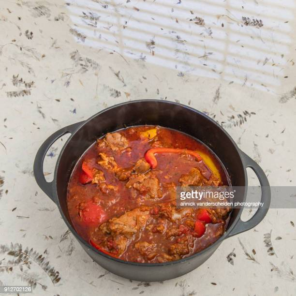 Lamb stew with bell pepper chops.