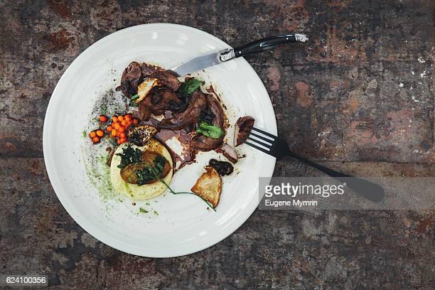 Lamb tongue with potato, mushrooms and sea buckthorn