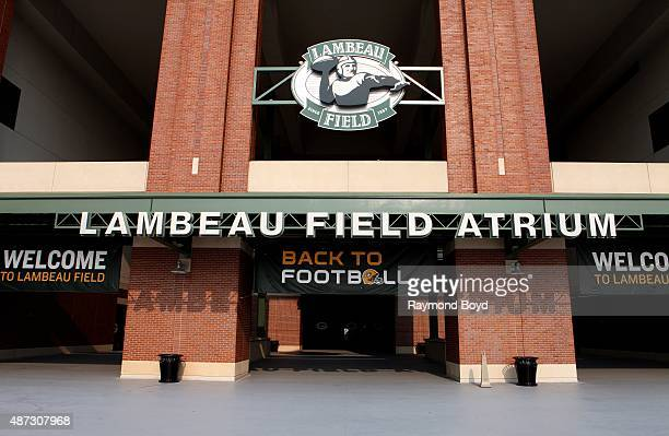 Lambeau Field atrium signage on August 31 2015 in Green Bay Wisconsin