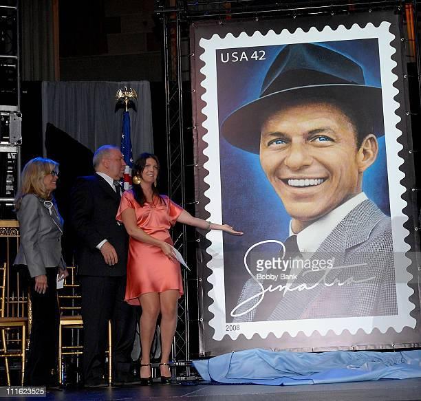 AJ Lambert Nancy Sinatra and Frank Sinatra Jr attend the Frank Sinatra Commemorative US Postal Service Stamp FirstDayOfIssue Ceremony at Gotham Hall...