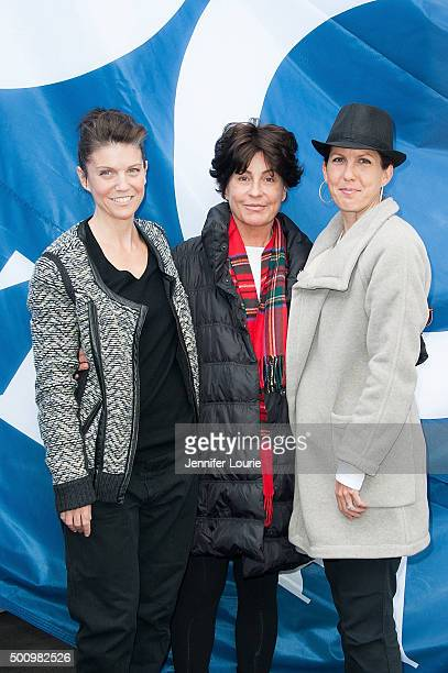 Lambert Tina Sinatra and Amanda Erlinger attend the Sinatra 100 FlagRaising at the Capitol Records Building on December 11 2015 in Los Angeles...