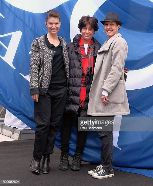 J Lambert Tina Sinatra and Amanda Erlinger attend the Sinatra 100 FlagRaising at Capitol Records Building on December 11 2015 in Los Angeles...