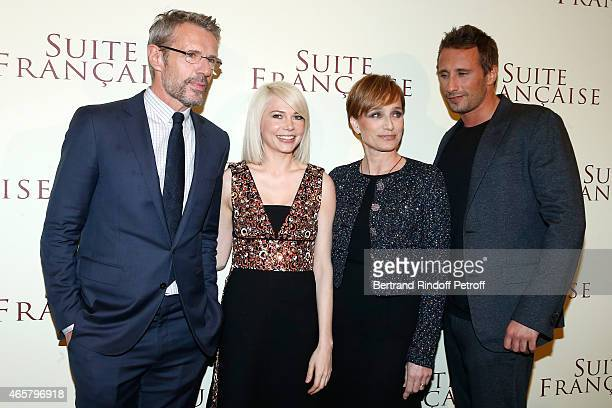 Lambert Wilson Michelle Williams Kristin Scott Thomas and Matthias Schoenaerts attend the world premiere of 'Suite Francaise' at Cinema UGC Normandie...
