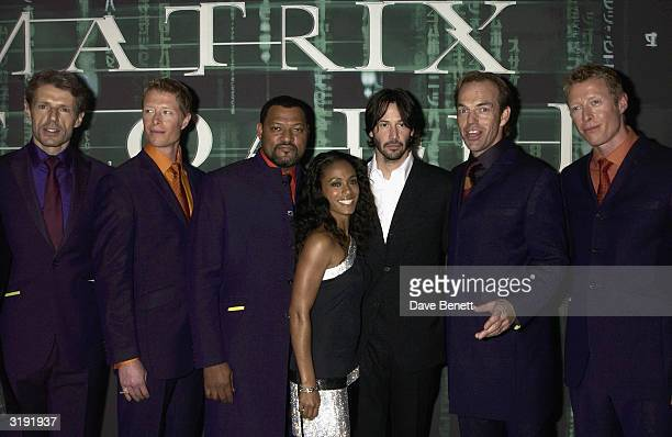 Lambert Wilson Neil Rayment Laurence Fishburne Jada PinkettSmith Keanu Reeves Hugo Weaving and Adrian Rayment attend 'The Matrix Reloaded' premiere...