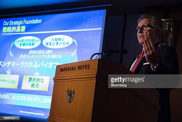 Lamberto Andreotti chief executive officer of BristolMyers Squibb Co speaks during a news conference in Tokyo Japan on Monday April 15 2013...