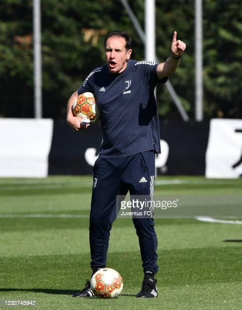 Lamberto Zauli, Coach of Juventus U23 issues instructions during the Juventus U23 Training Session at Juventus Center Vinovo on May 7, 2021 in...
