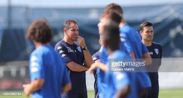Lamberto Zauli manager of Empoli FC U19 look on during training session on July 23 2018 in Empoli Italy