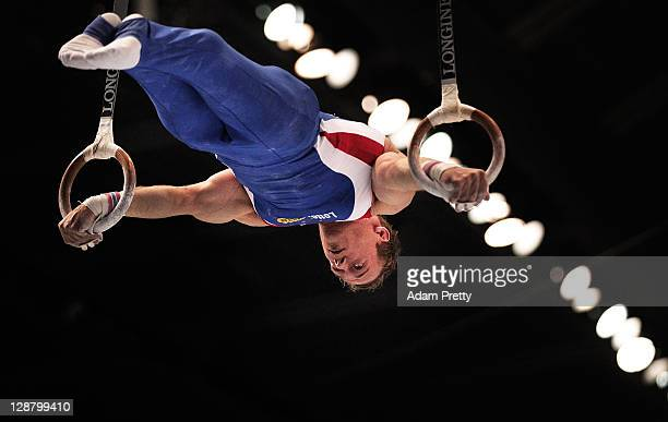 Lambertus van Gelder of the Netherlands competes on the Rings aparatus in the Men's qualification during day three of the Artistic Gymnastics World...