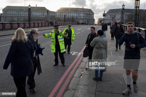 Lambeth Bridge closed in the aftermath of the terrorism event when four people were killed and 20 injured during a terrorist attack on Westminster...