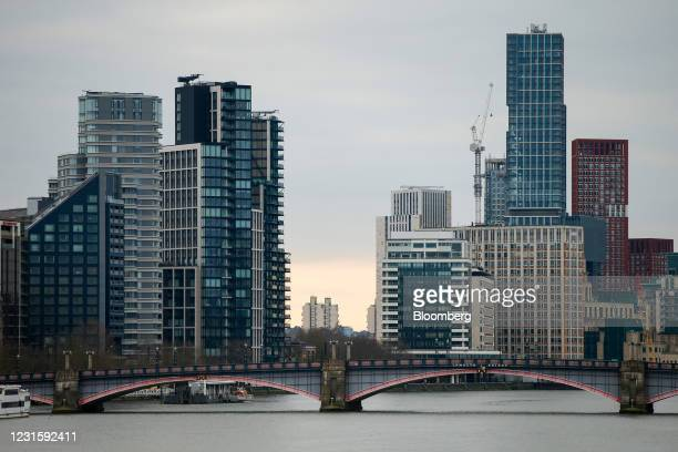 Lambeth Bridge over the River Thames with construction work in the Nine Elms and Vauxhall districts beyond in London, U.K., on Sunday, March 7, 2021....