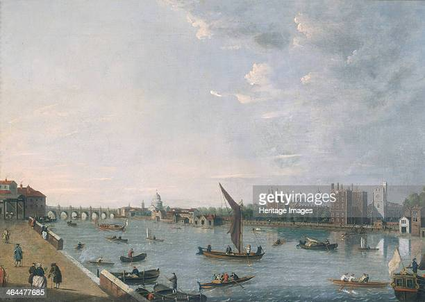 'Lambeth Palace from Horseferry' c1750 View looking northeast from Millbank Terrace including the newly completed Westminster Bridge and building...