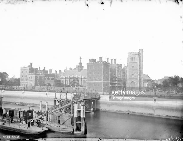 Lambeth Palace, Lambeth, Greater London, 1875. The exterior of the palace, owned by the archbishops since the 12th century with Lambeth pier in the...