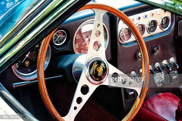 lamborghini 350 gt classic sports car interior - lamborghini stock photos and pictures