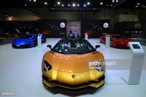 Lamborghini Aventador is seen during Dubai Motor Show at Dubai World Trade Centre on November 15 2017 in Dubai United Arab Emirates