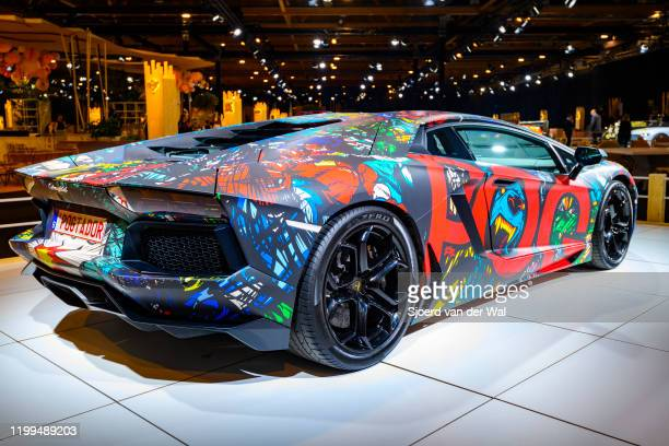 Lamborghini Aventador on display at Brussels Expo on January 8, 2020 in Brussels, Belgium.