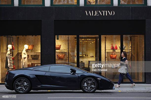 Lamborghini Aventador parked outside the Valentino Store in Knightsbridge on August 8, 2014 in London, England. Tourists and car enthusiasts have...