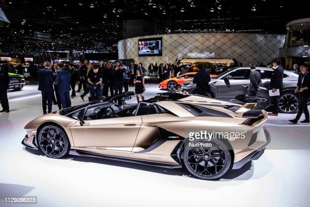 Lamborghini Aventador Roadster SV during the Geneva International Motor Show Gims in Geneva Switzerland from 7 to 17 of March