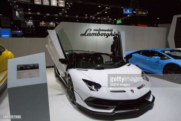 Lamborghini Aventador SVJ Roadster car seen at the Lamborghini stand during the 41st Bangkok International Motor Show 2020. The exhibition started...