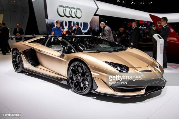 Lamborghini Aventador SVJ Roadster is displayed during the second press day at the 89th Geneva International Motor Show on March 5 2019 in Geneva...