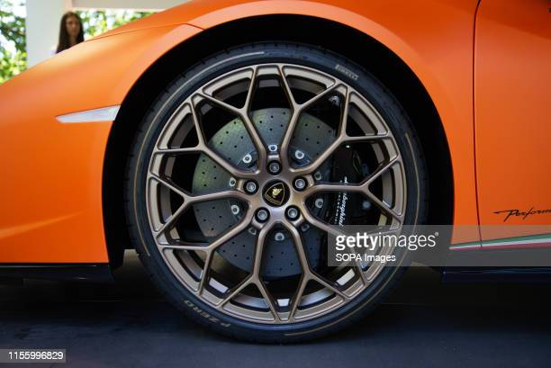 Lamborghini being exhibited during the Turin Motor Show 2019 that hosted 54 car brands by various automobile manufacturers and car designers at...