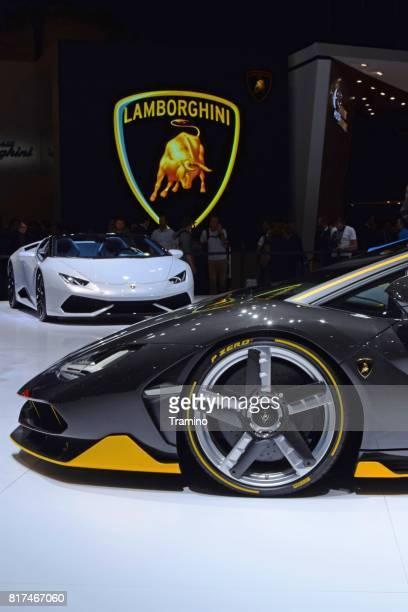 lamborghini cars on the motor show - lamborghini stock pictures, royalty-free photos & images