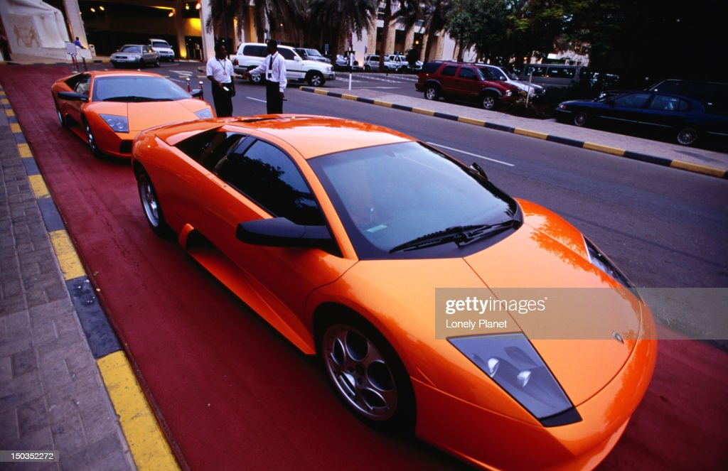Lamborghini Cars Parked In Front Of Wafi Shopping Centre.