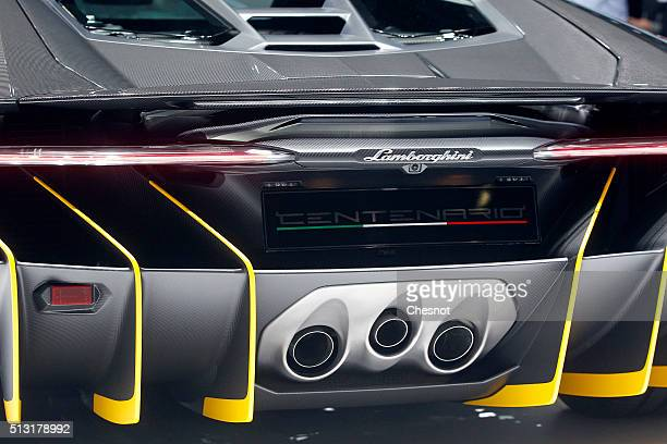 Lamborghini Centenario model is displayed during the press day of the 86th Geneva International Motor Show on March 1 2016 in Geneva Switzerland The...