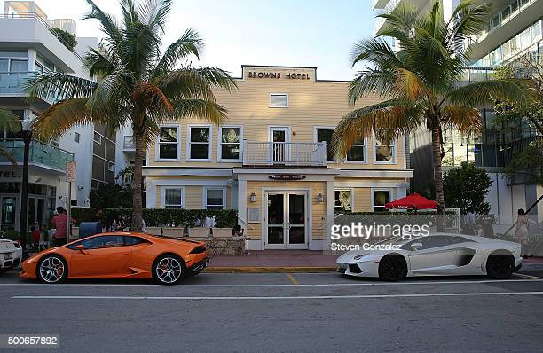 Lamborghini driven by member of Justin Bieber's entourage at Prime 112 Steakhouse on December 9 2015 in Miami Beach Florida