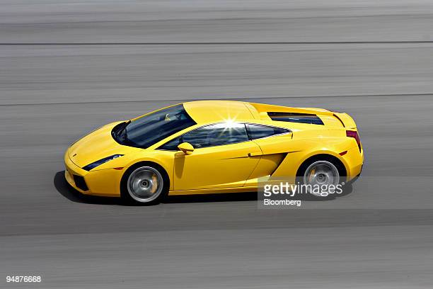 Lamborghini Gallardo is driven during the Supercar Life driving program at Homestead Miami Speedway in Homestead Florida US on Monday March 17 2008 A...