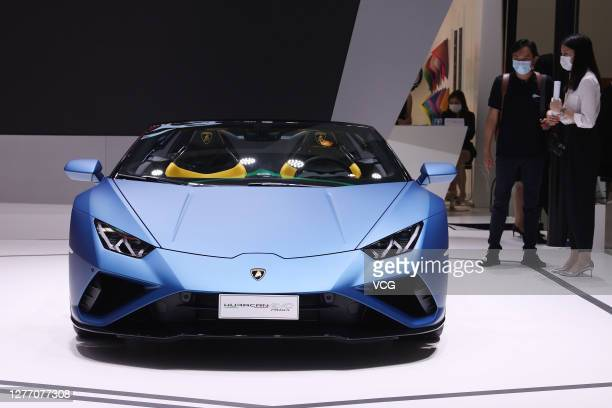 Lamborghini Huracan EVO car is on display during 2020 Beijing International Automotive Exhibition at China International Exhibition Center on...