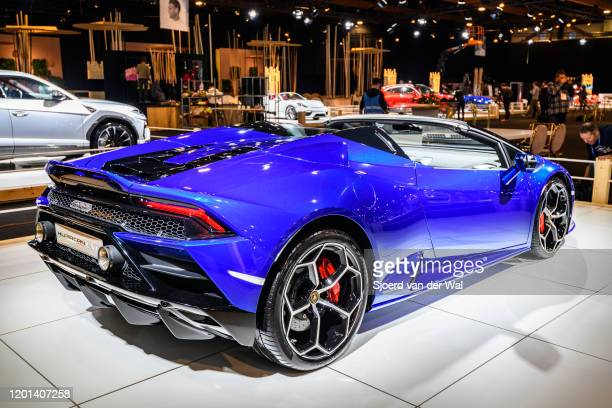 Lamborghini Huracan EVO Spyder convertible sports car on display at Brussels Expo on January 8, 2020 in Brussels, Belgium. The Lamborghini Huracan...