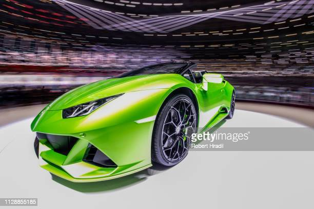 Lamborghini Huracan EVO Spyder is displayed during the second press day at the 89th Geneva International Motor Show on March 6, 2019 in Geneva,...