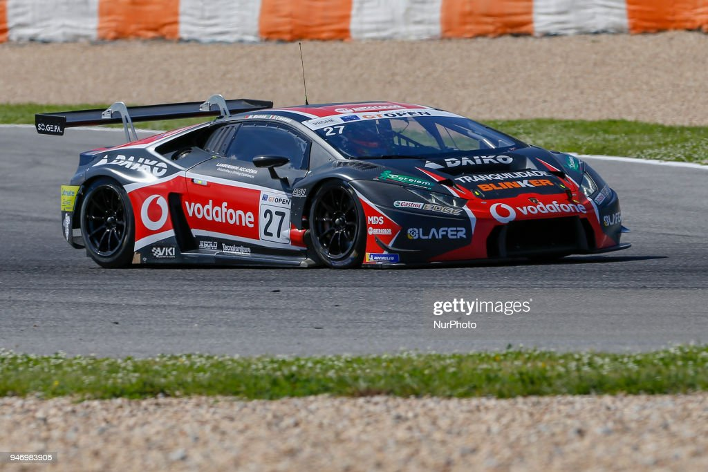 Lamborghini Huracan GT3 of Daiko Lazarus Racing driven by Fabrizio Crestani and Miguel Ramos during Race 1 of International GT Open, at the Circuit de Estoril, Portugal, on April 14, 2018.