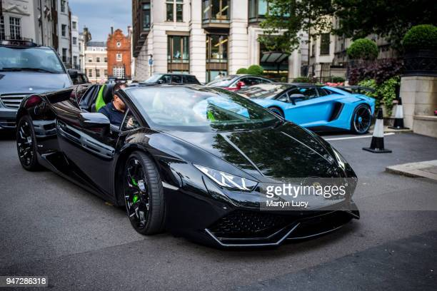 Lamborghini Huracan leaves the Dorchester Hotel on July 21 during the annual 'supercar invasion' of London