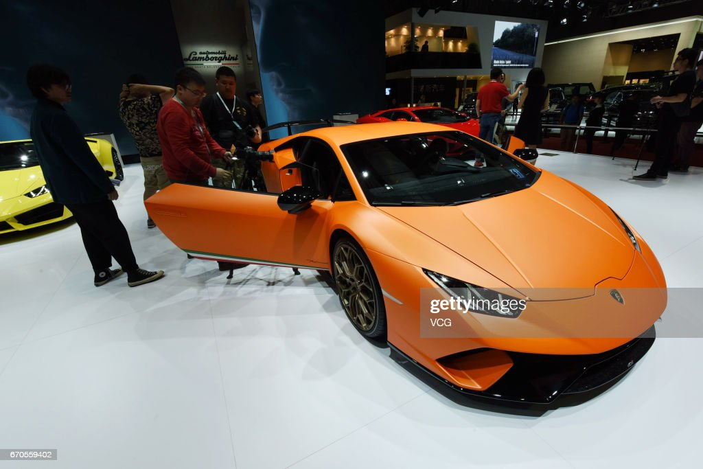 Lamborghini Huracan Performante is exhibited at the booth of National Exhibition and Convention Center ahead of the 17th Shanghai International Automobile Industry Exhibition on April 20, 2017 in Shanghai, China. The 17th Shanghai International Automobile Industry Exhibition will be held at National Exhibition and Convention Center (Shanghai) from April 21 to April 28.