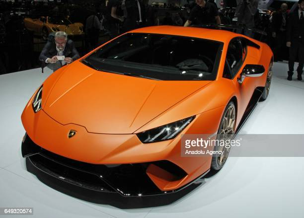 Lamborghini Huracan Performante is on display during the 87th Geneva International Motor Show at Palexpo Exhibition Centre in Geneva Switzerland on...