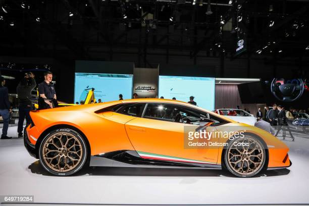 Lamborghini Huracan Performante on display during the second press day of the Geneva Motor Show 2017 at the Geneva Palexpo on March 8 2017 in Geneva...