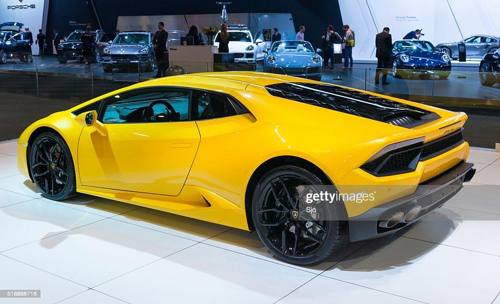 Lamborghini Huracan Sports Car Rear View Stock Photo Getty Images