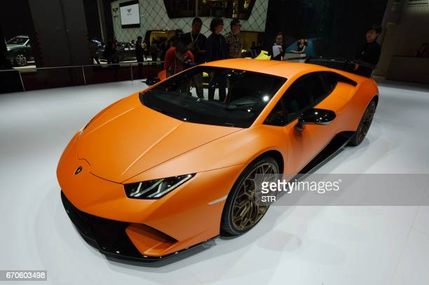 A Lamborghini Huracán Performante is displayed during the second day of the 17th Shanghai International Automobile Industry Exhibition in Shanghai on...