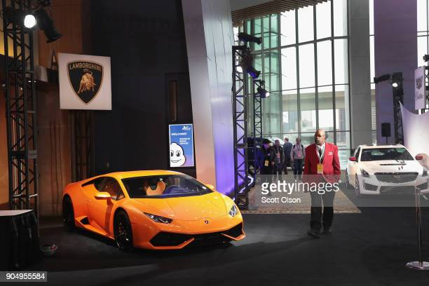 Lamborghini is displayed alongside other exotic cars outside the press center at the North American International Auto Show on January 14 2018 in...