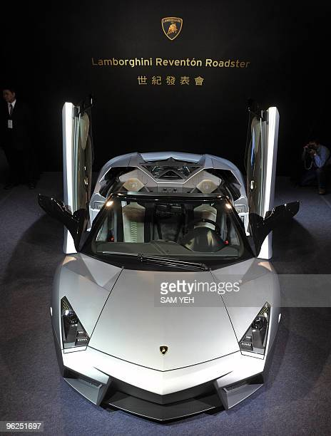 A Lamborghini latest Reventon Roadster sports car is on display during an exhibition at the Taipei 101 department store on January 29 2010 The...