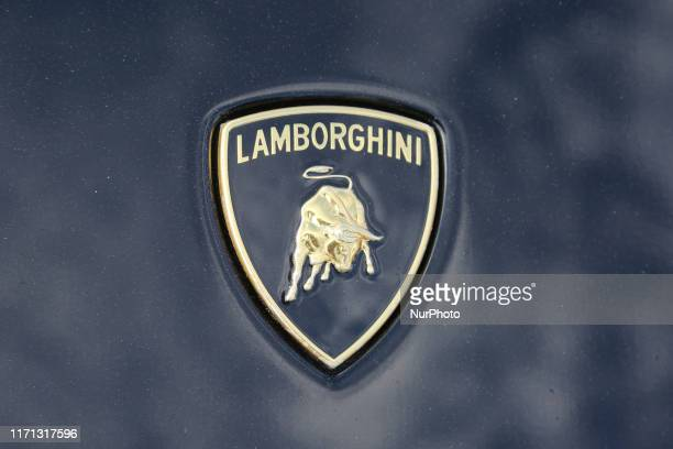 Lamborghini logo seen during an exotic sports car show in Mississauga, Ontario, Canada, on September 22, 2019.