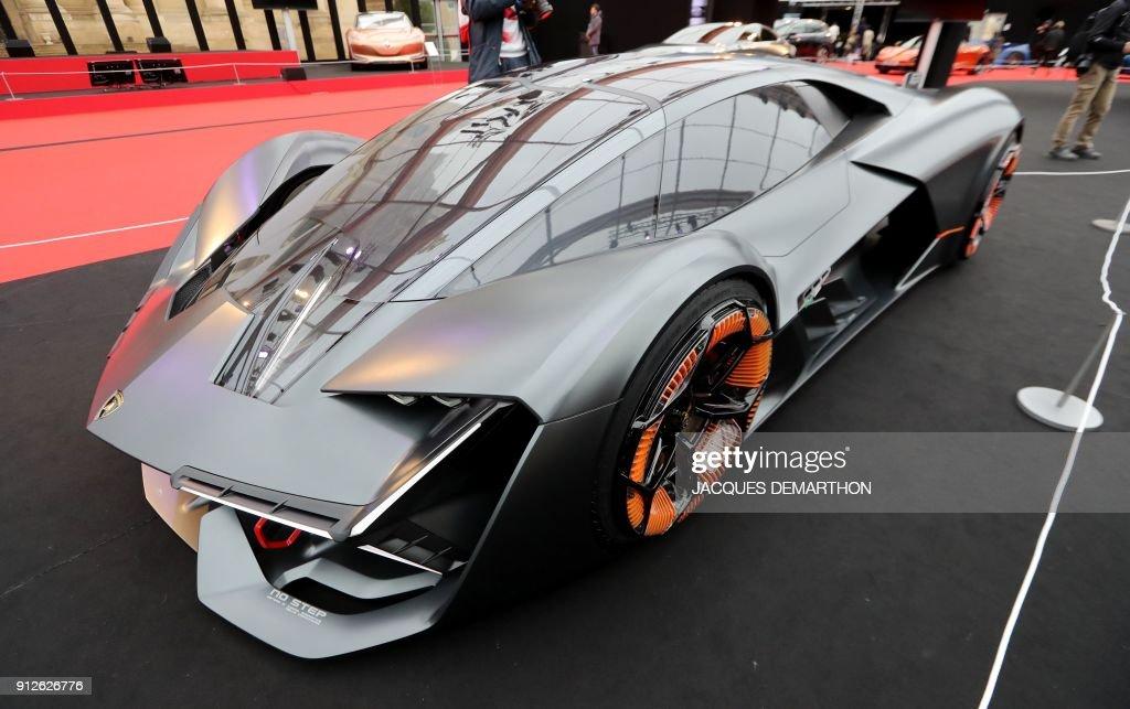 A Lamborghini Terzo Millennio Concept Car Is Displayed At The